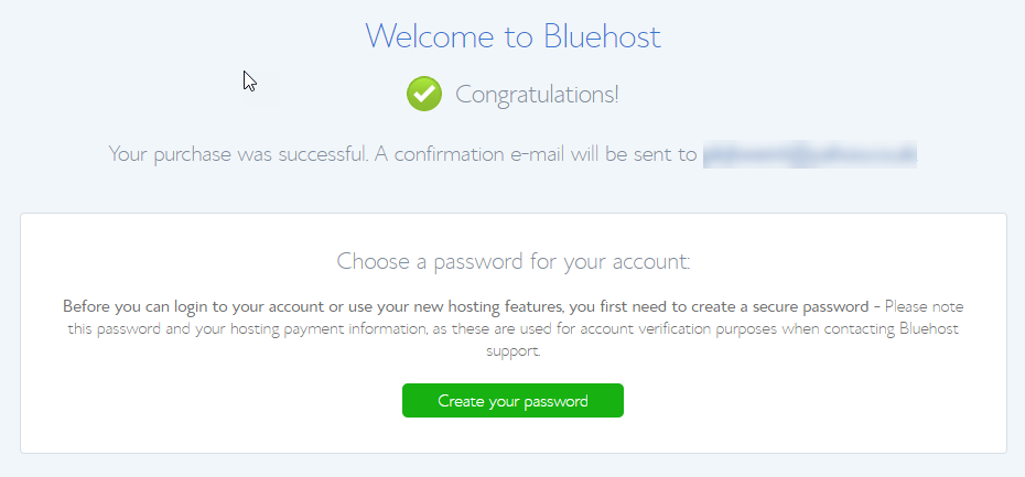 Screen shot of congratulation and welcome to Bluehost